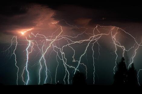 Relámpagos en un tormenta eléctrica.